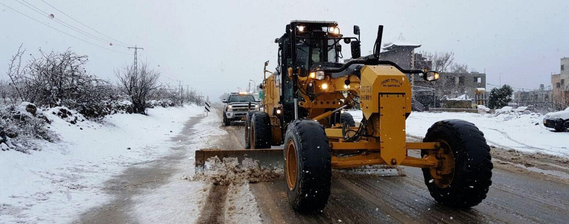 מפלסים את השלג בכבישי צפון רמת הגולן