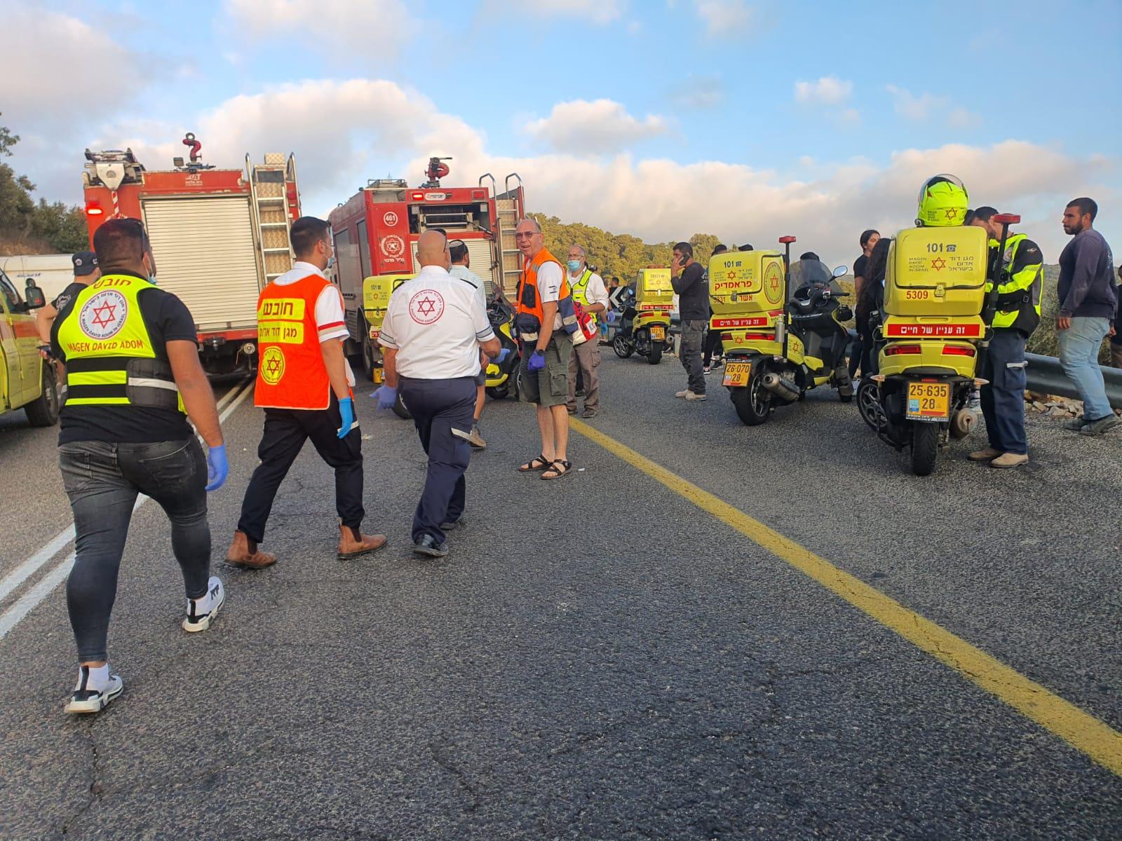 5 הרוגים בתאונת הדרכים בחורפיש חלק מהפצועים פונו למרכז הרפואי זיו