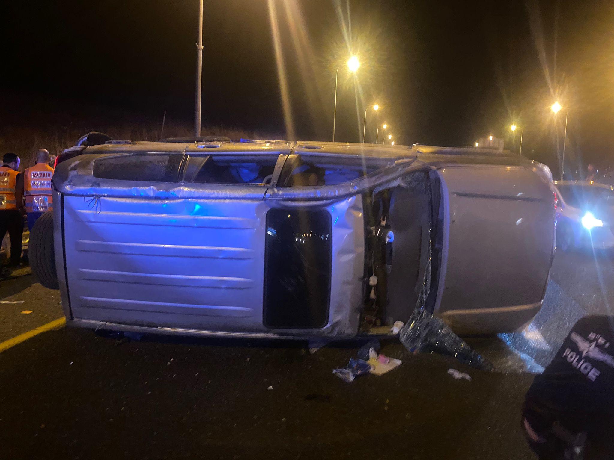 תאונת דרכים בסמוך לראש פינה שלושה פצועים במצב קל: